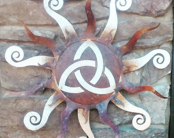 Metal Wall Art Living Room Decor Up Rustic Celtic Triquetra  Representing Spirit, Body and Mind, Sun for Eternity by Mish Mash Metal