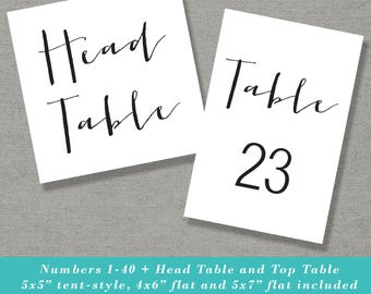 Wedding Table Numbers - Printable Tent Style Table Numbers - 4x6 - 5x7 - Instant Download