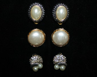 Vintage Costume Jewelry Clip On Earrings Faux Pearls Three Pairs/Styles/Sizes