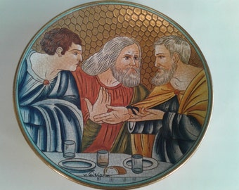 Vintage Collector Plate Hand Etched and Painted By Veneto Flair The Last Supper Scene I By V. Tiziano