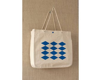 Close Out, Canvas Tote Bag, Blue, Harlequin, String Handle, Tote Bag, Eco Friendly Bag, Shopping Bag
