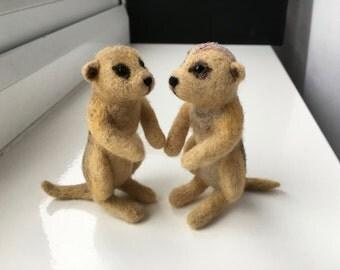 Needle Felted Meerkats, Meerkat Couple, Miniature Felted Wool Sculpture, Meerkat Gifts, Meerkat Art, Meerkat Decoration