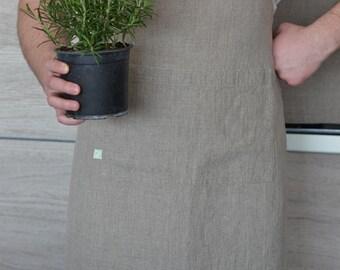 Natural linen apron / Unisex apron / Stonewashed linen / Rustic apron / Organic clothing / Chef's apron