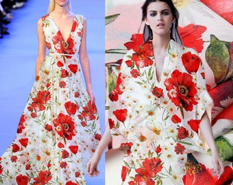 100% Silk Chiffon Fabric By The Yard Flower Fabric Floral Fabric Print Silk Fabric Clothing Fabric Women Dress Fabric Gown Fabric-YINGSU