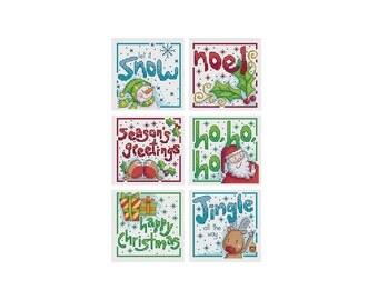 Words Christmas Cards - Set of 6 - Durene J Cross Stitch Patterns