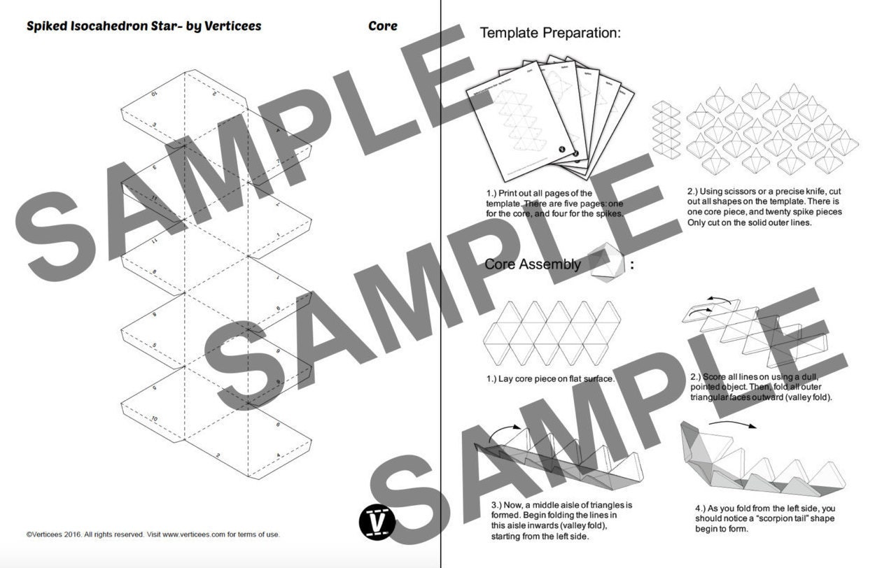 spiked star papercraft pdf pack 3d paper sculpture template with