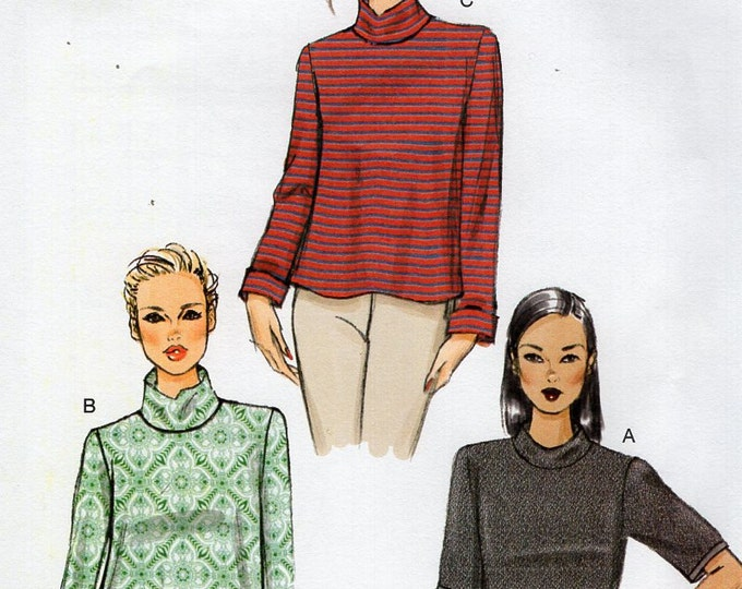 Vogue 9028 Free Us Ship Turtleneck Top Sewing Pattern Size 14/22 Bust 36 38 40 42 44 plus size (Last size left)  Uncut Out of Print 2014