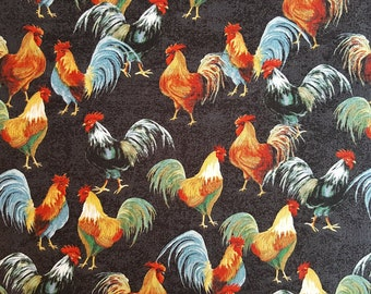 Tossed Roosters on Mottled Black ~  Country Kitchen ~ 100% Quilt Shop Quality Cotton ~ Windham Fabrics ~ Sold by the Yard