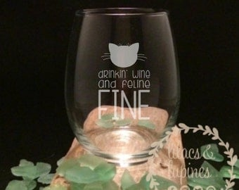 Etched Stemless Wine Glass | Etched Cat Wine Glass Cat Lover Gift Drinking Wine and Feline Fine Wine Glass Cat Glass Cat Wine Glass