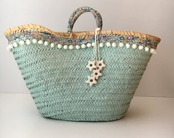 Carrycot decorated / basket decorated with fabric of Liberty / basket Beach / Strawbag