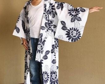 White Yukata with big navy blue sunflower pattern