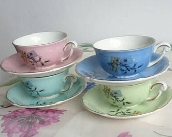 French Pastel Cups Set, Vintage Espresso Coffee Cups, Shabby Cottage Floral