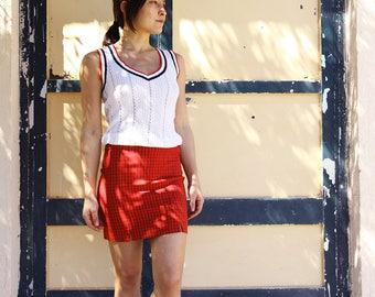 Vintage  red black checks plaids mini skirt.size xs-s