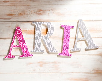"Freestanding Wooden Letters, Pink and Grey Theme, Pink Damask, Girls Bedroom Decor, Teenagers Room, Pink and grey Decor 8"" letters"