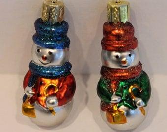 Set of 12 Glass Christmas Decorations - Dozen Snowmen Ornaments - Glass Snowmen