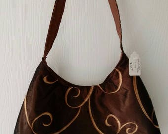 Ladies NEW Purse Handbag Pocketbook Shoulder bag BROWN with ABSTRACT print T106