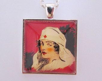 Vintage Nurse Pendant, Vintage Nurse Necklace, Nurse Jewelry, Nursing School Gift, Nursing School Graduation Gift, Glass Photo Pendant