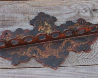 Antique vintage French ornate lacquerwork or gesso pipe rack