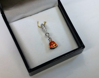 Pendant in Silver 925 crystals clear/orange SK724