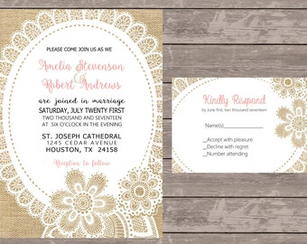 Lace and Burlap wedding invitations, Lace Wedding Invitations, Custom Wedding Invite, Burlap Wedding invite ,budget invitations