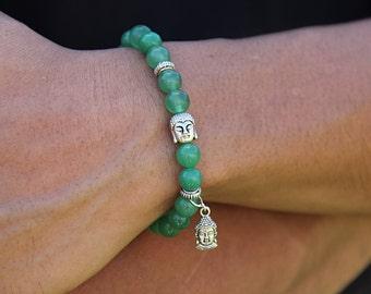 Buddha Bracelet Aventurine Jewelry Boyfriend Bracelet Mens Yoga Bracelet Inspirational Gifts for Men Anniversary Green Aventurine Bracelet