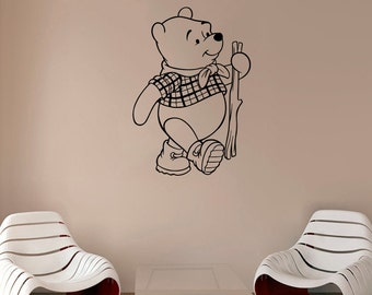Winnie The Pooh Decal Pooh Bear Vinyl Sticker Nursery Wall Decor Cartoons Art Decorations (4weph)