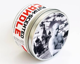 Vladimir Putin-Scented Candle | 16 oz tin | Funny Russian Politics and History Gift | Funny graduation gift | Pine, smoke and soil