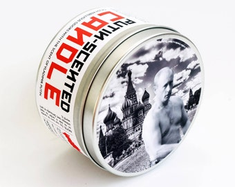 Vladimir Putin Scented Candle | Funny Russian Politics and History Gift | Pine, smoke and soil