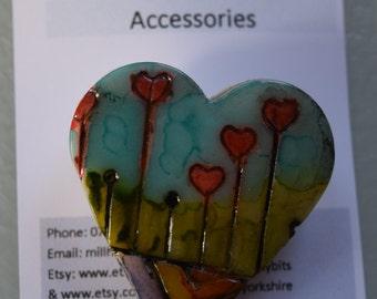 Handmade polymer clay brooch