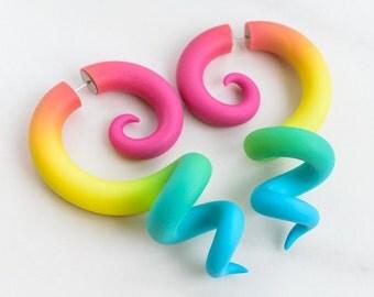 Octopus Gauges, Tentacle Earrings, Fake Plugs, Ear Gauges, Fake Ear Plugs, Fake Gauge Earrings, Rainbow Faux Gauges, Fake Tentacle Earrings