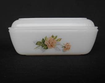 Vintage French Arcopal Butter Dish  Pink Rose 1960's  #00125