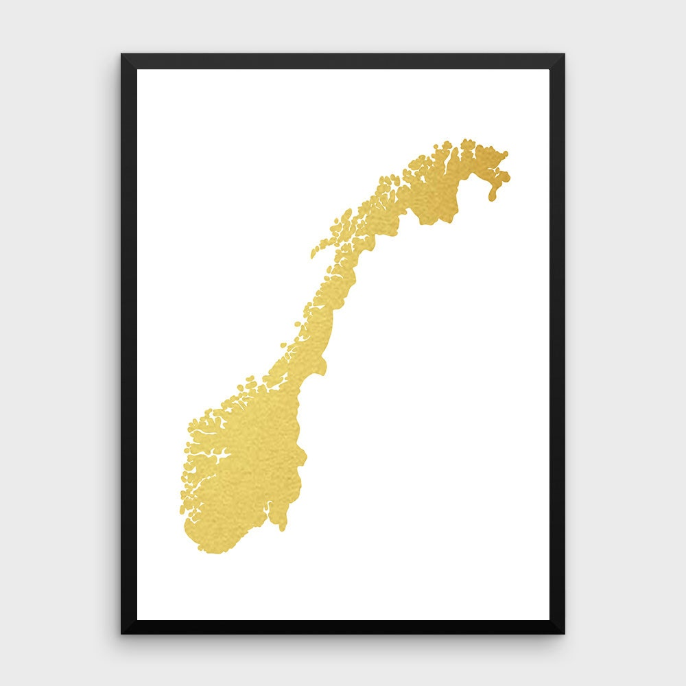 Gold Foil Norway Map Printable Map Wall Art Norway Map - Norway map poster