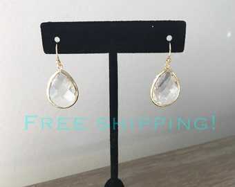 SHIPS FREE, Bridesmaid gift, Teardrop earring, Bridesmaid Earrings, Everyday jewelry, Jewelry Gifts
