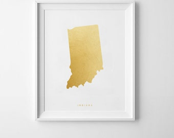 Indiana Gold Map Print Us State Poster State Map Print Printable Map