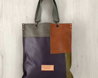 Flat leather tote bag, multicolor leather tote bag