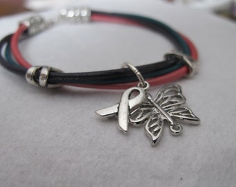 Thyroid Cancer Leather Butterfly bracelet