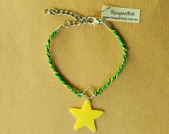 Recycled Bracelet Plastic Upcycled handmade Ecofriendly Ecologic Star Original Design by RecuperArte