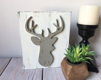 Deer Head - Fathers Day - Rustic Home Decor - Wood Signs - Antler Decor - Deer Silhouette - Rustic Wood Sign - Farmhouse Decor - Deer Sign