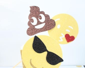 Happy Face, Poop, Emoji Cake Topper, Birthday, Funny, Comical, Humor Party Deco, Centerpiece, Celebrate, OverTheTopCakeTopper
