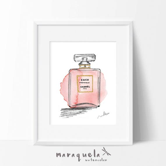 CHANEL COCO Mademoiselle modern Illustration WATERCOLOR, elegant shades. Fragrances fashion glamour Chanel Paris handame, abstract art wall