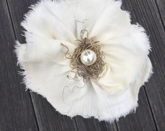 Cream Linen Fabric Flower