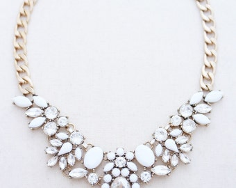 Crystal statement necklace, statement necklace, gold statement necklace, white statement necklace, bridesmaid jewelry, bridal jewelry, bride