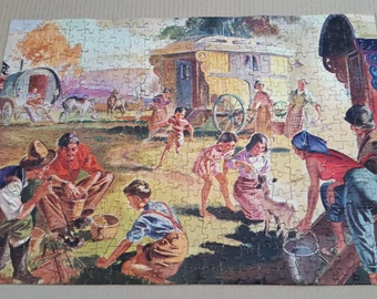 Vintage Jigsaw Puzzle - Complete - The Good Companion No 52 Gypsy Camp At Sundown Jigsaw Puzzle Over 400 Pieces Complete in Box