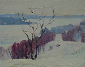 VINTAGE WINTER LANDSCAPE Original Oil Painting by Soviet Ukrainian artist Stupenko G. 1975 Signed, Winter Scenes Ukrainian Art, High Quality