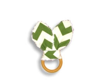 Natural Wooden Teething Ring <<Sage Chevron>> Baby/Teething Toy/Bunny Ears//Green//Forrest Green//White