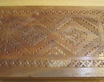 VTG Handcarved Wood  Cigarette Box OOAK IntricateDetail Workmanship