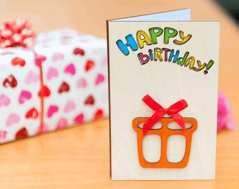 "Wooden BIRTHDAY card, wooden GREETING card, wooden greeting card, birthday gift, wood, card, birthday, gift, wooden,  greeting card ""Gift"""