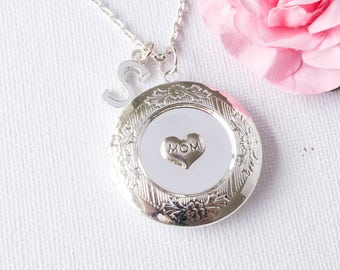 personalised gift mom, gifts for mom necklace, mom necklace, Silver locket, mommy necklace, keepsake gift, gift for mom, SPIIMOMLO1