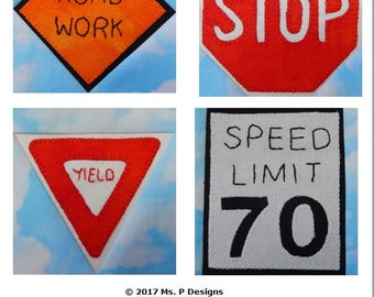 Road sign set #1 PDF quilt block pattern; traffic sign downloadable quilt pattern; paper pieced, quick pieced, and applique quilt pattern