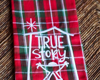 Plaid Christmas Dish Towel, Nativity Tea Towel, Red Holiday Towel, Christmas Gift, Kitchen Decor, Christmas Decoration, Hostess Gift, Green